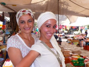 Local girls at the market in Turkish village